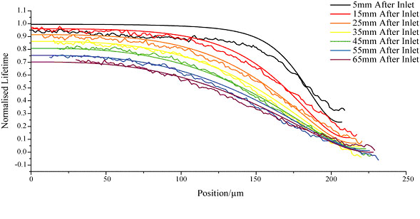 Simulated and experimental lifetme profiles across the channel