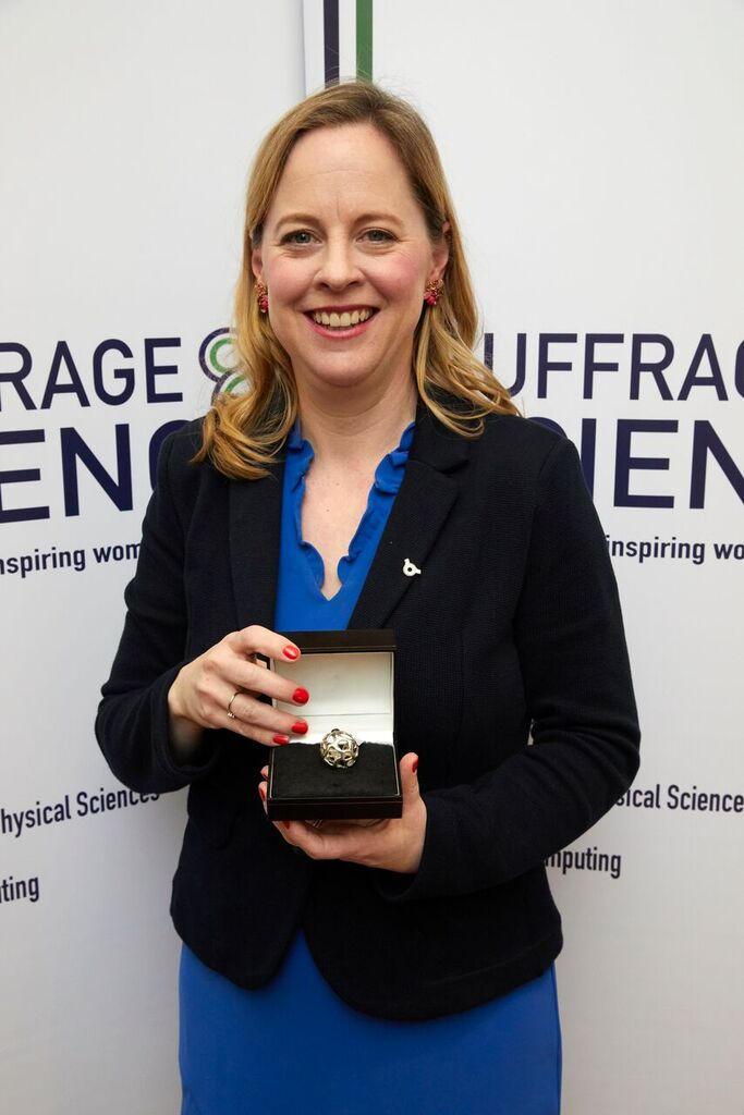 Roisin with suffrage science award