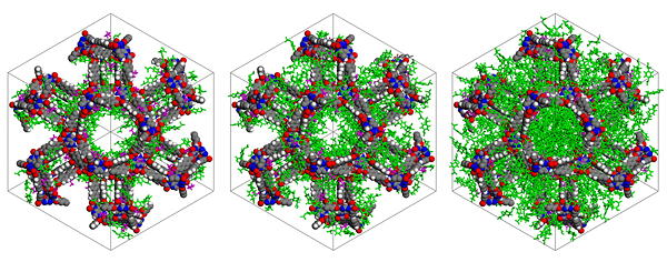 Snapshots of ibuprofen (green molecules) in BioMOF-100 at different uptakes