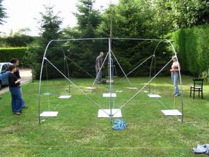 Alice working on a refugee hoop-tent