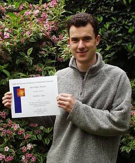 Andy with his award  certificate