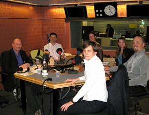 Ben Taylor (far right) in the BBC studio