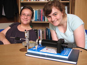 Cathy Collett (on the right) with visiting researcher Elodie Chaudan