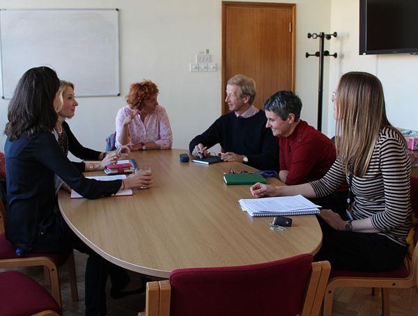 Head of Department Prof John Dennis with Dr Laura Torrente, Prof Sabine Bahn, Dr Ljiljana Fruk, Miriam Lynn and Emma Frampton