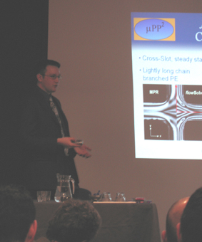 David giving his presentaion on cross-slot flow