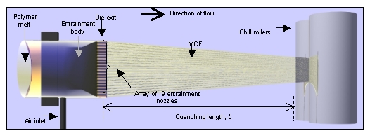 Schematic diagram of the mcf extrusion die