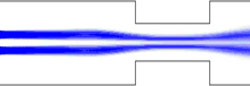 Flow visualisation of a double rectangular obstruction