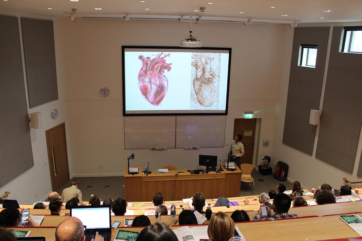 Professor Geoff Moggridge presenting work on synthetic heart valves