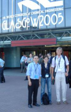 Group members at the entrance to the congress