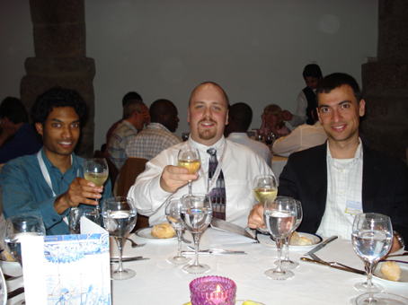 Arjan, Ben and Nuno at the confernece dinner