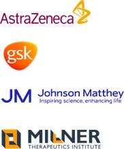 Industry champion logos: AstraZeneca, GSK, Johnson Matthey and The Milner Therapeutics Institute