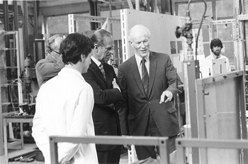 John Davidson with Duke of Edinburgh in the unit operations lab of the department in 1983