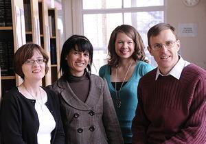 Receptionist Michaela McNeill, Elena Gonzalez, Amanda Taylor and Tom Matthams