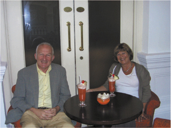 Malcolm and Margaret relaxing at Raffles