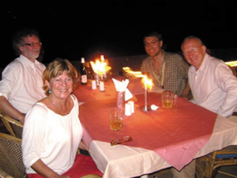 Malcolm, Margaret, Lino and Gerrit Peters (Eindhoven University) having a meal at the Prainha Beach Hotel Goa