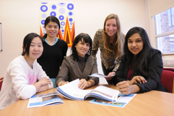 PhD students Ning Xiao, Fanny Yuen and Jantine Broek, and Undergraduate CUCES rep Kripa Balachandran