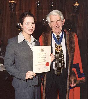 rachel receiving her  award