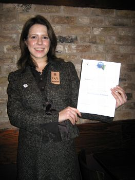 Rachel with her certificate