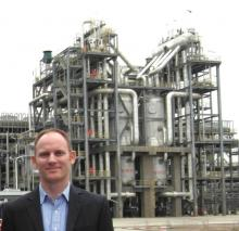 Claxton in front of the methanol reactors at the Shenhua Baotou Coal to Olefins plant in Inner Mongolia.